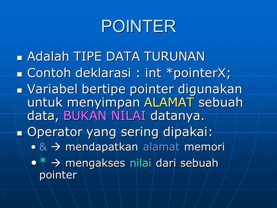 POINTER Adalah TIPE DATA TURUNAN Adalah TIPE DATA TURUNAN Contoh deklarasi : int *pointerX; Contoh deklarasi : int *pointerX; Variabel bertipe pointer