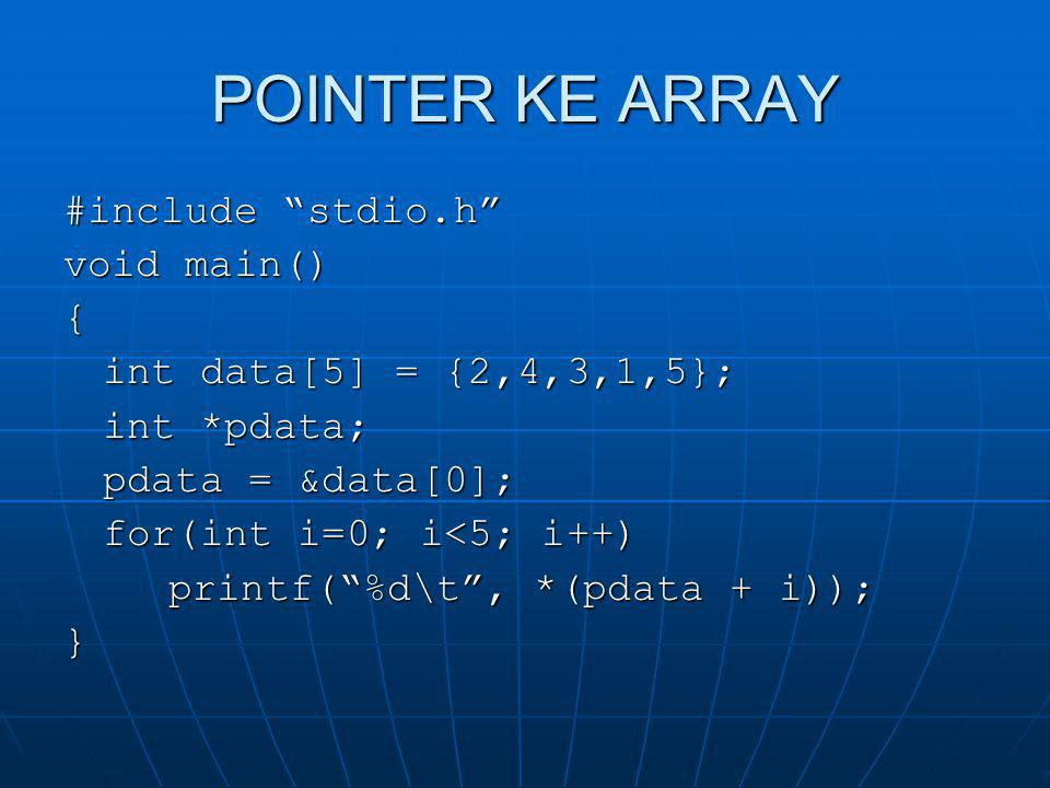 "POINTER KE ARRAY #include ""stdio.h"" void main() { int data[5] = {2,4,3,1,5}; int *pdata; pdata = &data[0]; for(int i=0; i<5; i++) printf(""%d\t"", *(pda"