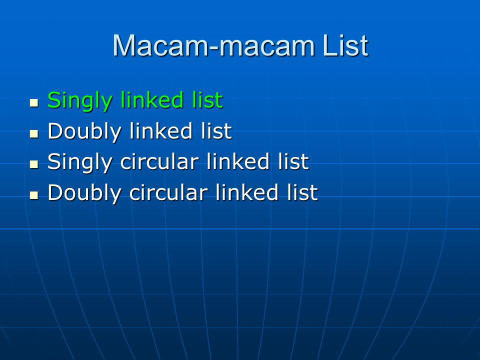 Macam-macam List Singly linked list Singly linked list Doubly linked list Doubly linked list Singly circular linked list Singly circular linked list D