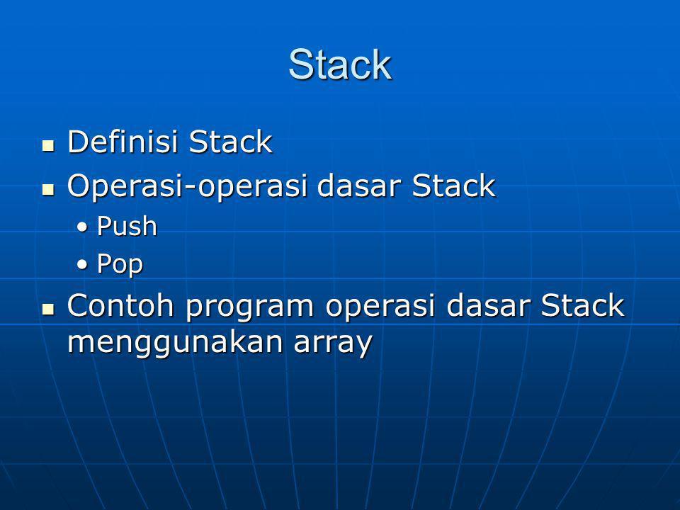 Stack Definisi Stack Definisi Stack Operasi-operasi dasar Stack Operasi-operasi dasar Stack PushPush PopPop Contoh program operasi dasar Stack menggun