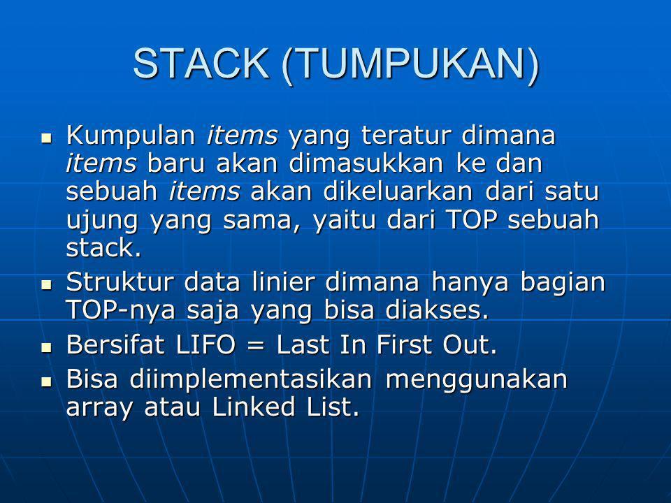 STACK (TUMPUKAN) Kumpulan items yang teratur dimana items baru akan dimasukkan ke dan sebuah items akan dikeluarkan dari satu ujung yang sama, yaitu d