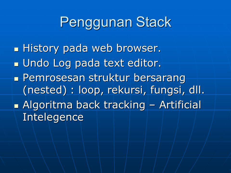 Penggunan Stack History pada web browser. History pada web browser. Undo Log pada text editor. Undo Log pada text editor. Pemrosesan struktur bersaran