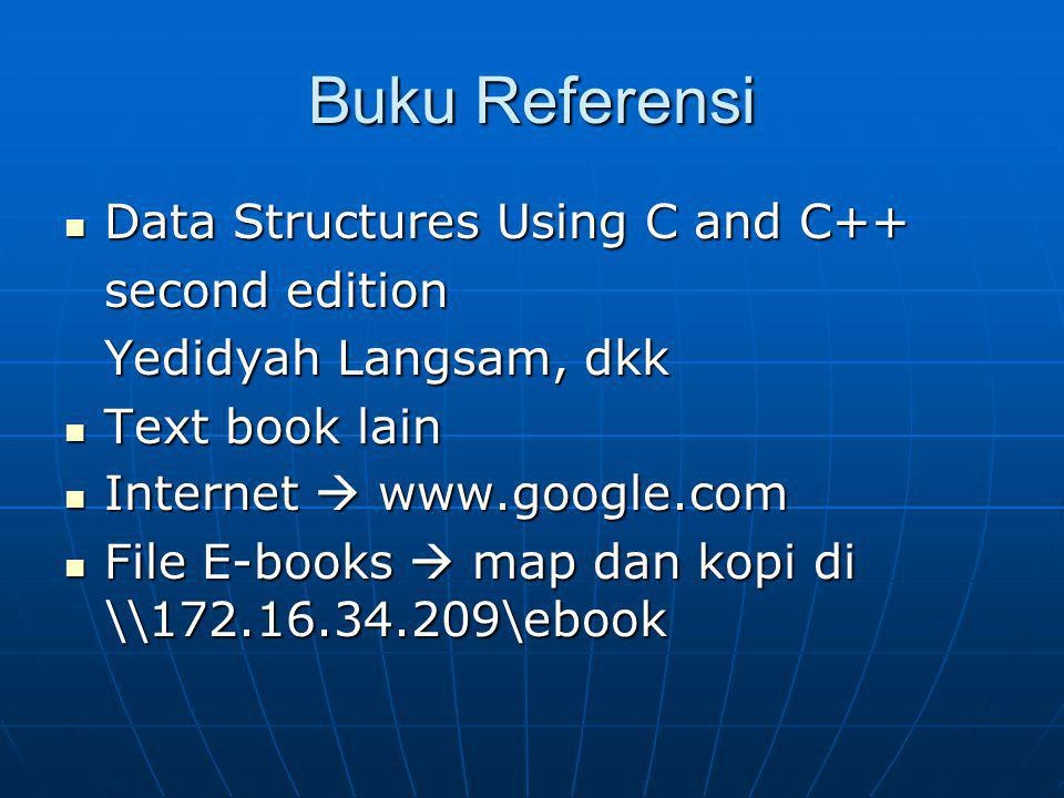 Buku Referensi Data Structures Using C and C++ Data Structures Using C and C++ second edition Yedidyah Langsam, dkk Text book lain Text book lain Inte