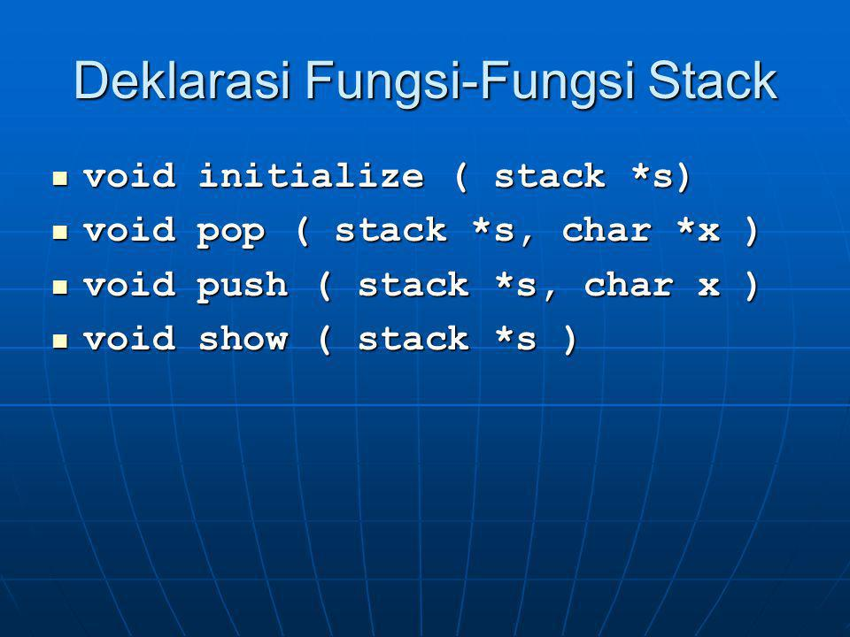 Deklarasi Fungsi-Fungsi Stack void initialize ( stack *s) void initialize ( stack *s) void pop ( stack *s, char *x ) void pop ( stack *s, char *x ) vo