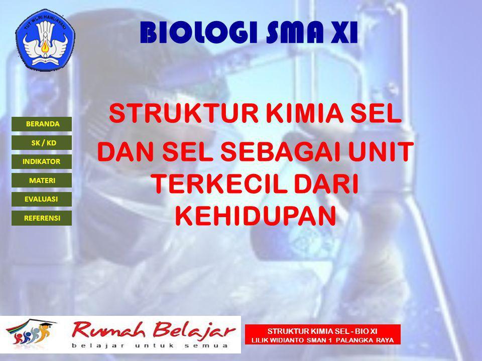 BERANDA INDIKATOR SK / KD MATERI EVALUASI REFERENSI STRUKTUR KIMIA SEL - BIO XI LILIK WIDIANTO SMAN 1 PALANGKA RAYA BIOLOGI SMA XI STRUKTUR KIMIA SEL