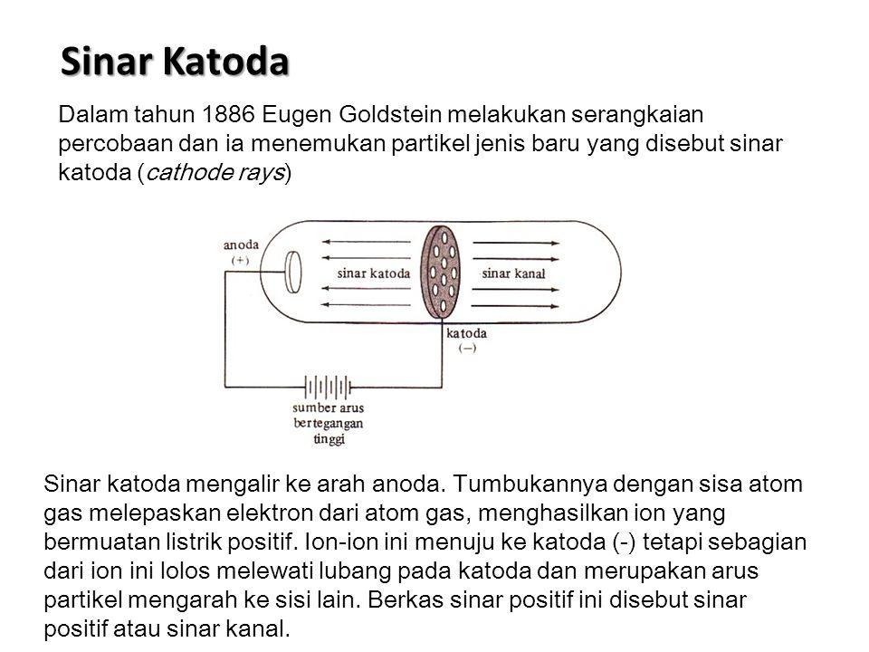 Sinar Katoda Dalam tahun 1886 Eugen Goldstein melakukan serangkaian percobaan dan ia menemukan partikel jenis baru yang disebut sinar katoda (cathode