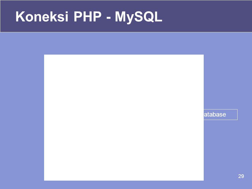 29 <? //Membuat database MySQL $nama_db =