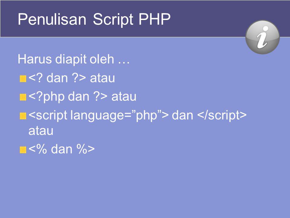 Contoh 4: Contoh – Pemprograman PHP