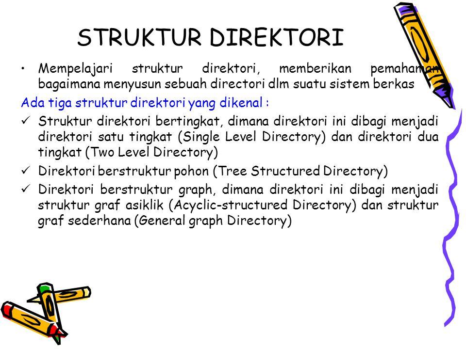 STRUKTUR DIREKTORI Mempelajari struktur direktori, memberikan pemahaman bagaimana menyusun sebuah directori dlm suatu sistem berkas Ada tiga struktur