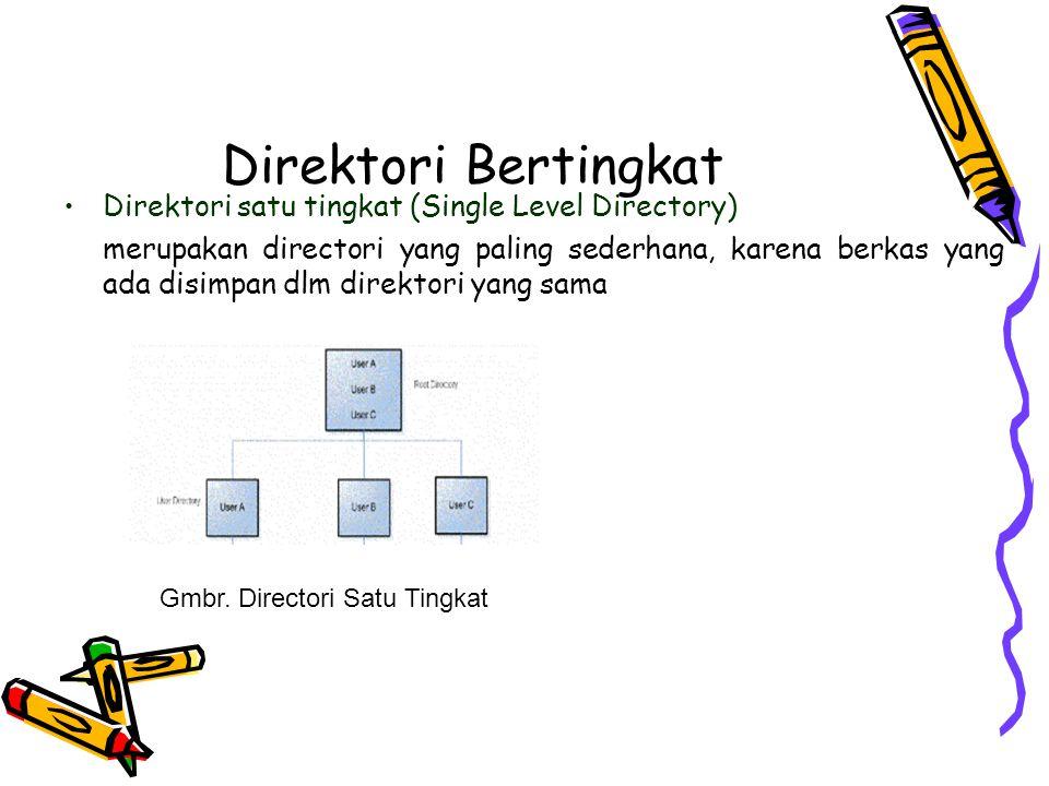 Direktori Bertingkat Direktori dua tingkat (Two Level Directory) sering terjadi kesulitan dlm menentukan nama file dari dua pengguna yang berbeda,penyelesaian dengan menggunakan direktori terpisah yaitu User File Direktori (UFD).Jika melakukan login maka Master File Directory dipanggil Gmbr.
