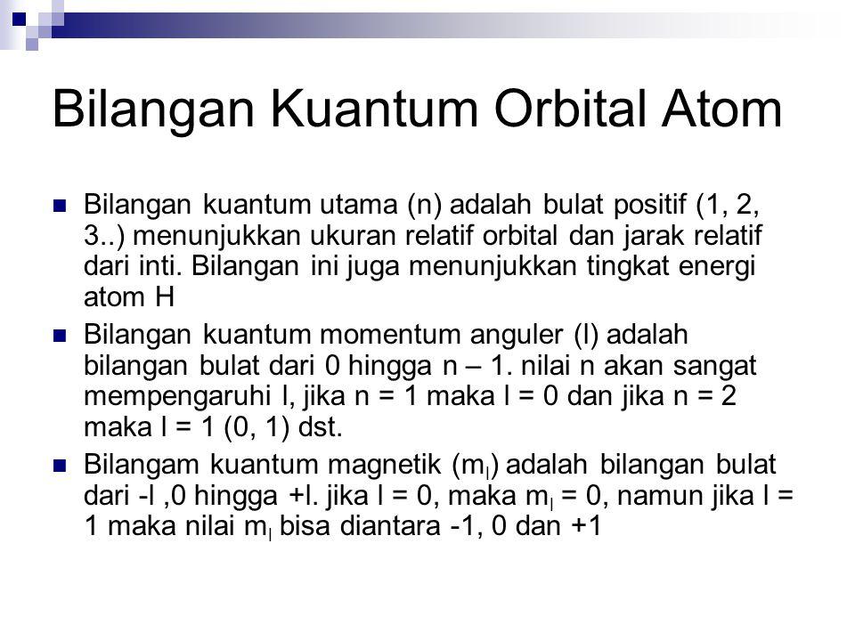 Bilangan Kuantum Orbital Atom Bilangan kuantum utama (n) adalah bulat positif (1, 2, 3..) menunjukkan ukuran relatif orbital dan jarak relatif dari inti.