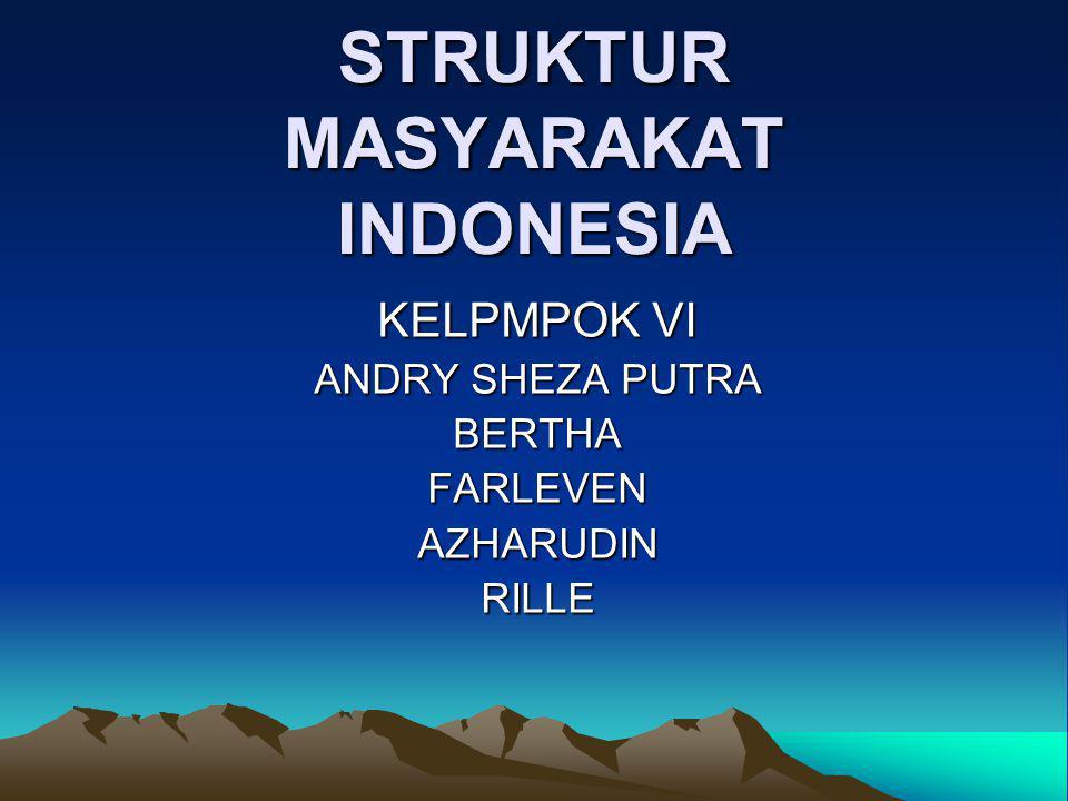 STRUKTUR MASYARAKAT INDONESIA KELPMPOK VI ANDRY SHEZA PUTRA BERTHAFARLEVENAZHARUDINRILLE