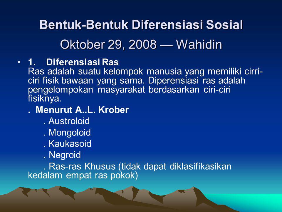 Bentuk-Bentuk Diferensiasi Sosial Oktober 29, 2008 — Wahidin 1. Diferensiasi Ras Ras adalah suatu kelompok manusia yang memiliki cirri- ciri fisik baw