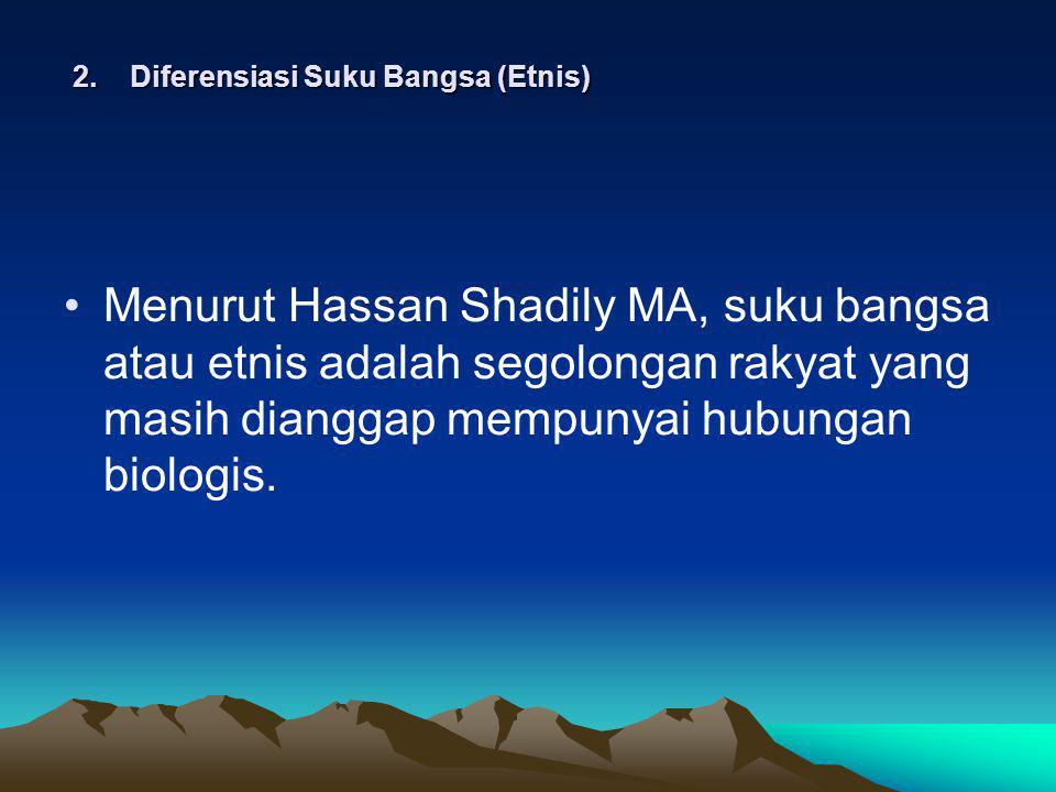 2. Diferensiasi Suku Bangsa (Etnis) Menurut Hassan Shadily MA, suku bangsa atau etnis adalah segolongan rakyat yang masih dianggap mempunyai hubungan