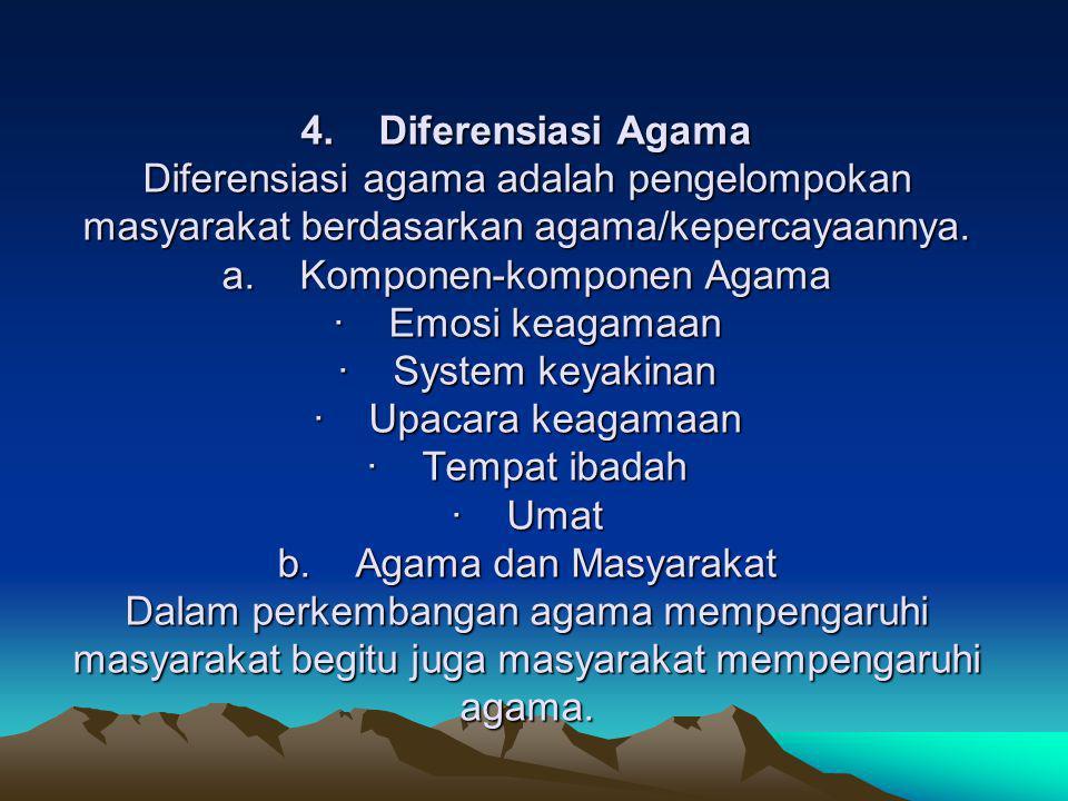 4. Diferensiasi Agama Diferensiasi agama adalah pengelompokan masyarakat berdasarkan agama/kepercayaannya. a. Komponen-komponen Agama · Emosi keagamaa