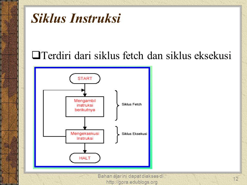 Bahan ajar ini dapat diakses di : http://gora.edublogs.org 12 Siklus Instruksi  Terdiri dari siklus fetch dan siklus eksekusi