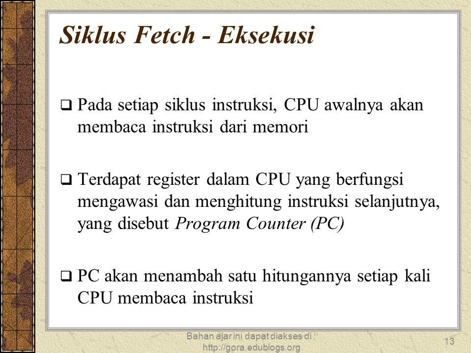 Bahan ajar ini dapat diakses di : http://gora.edublogs.org 13 Siklus Fetch - Eksekusi  Pada setiap siklus instruksi, CPU awalnya akan membaca instruk