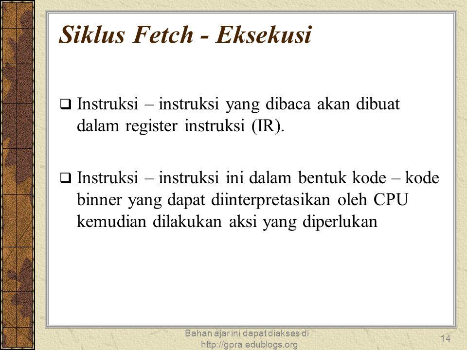 Bahan ajar ini dapat diakses di : http://gora.edublogs.org 14 Siklus Fetch - Eksekusi  Instruksi – instruksi yang dibaca akan dibuat dalam register i