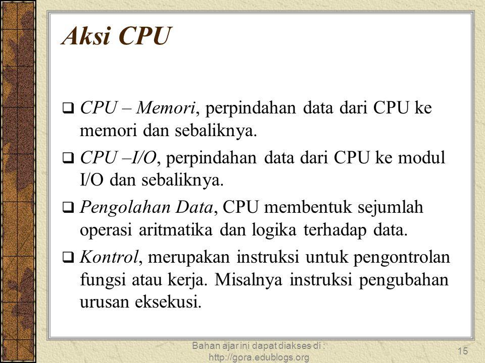 Bahan ajar ini dapat diakses di : http://gora.edublogs.org 15 Aksi CPU  CPU – Memori, perpindahan data dari CPU ke memori dan sebaliknya.  CPU –I/O,