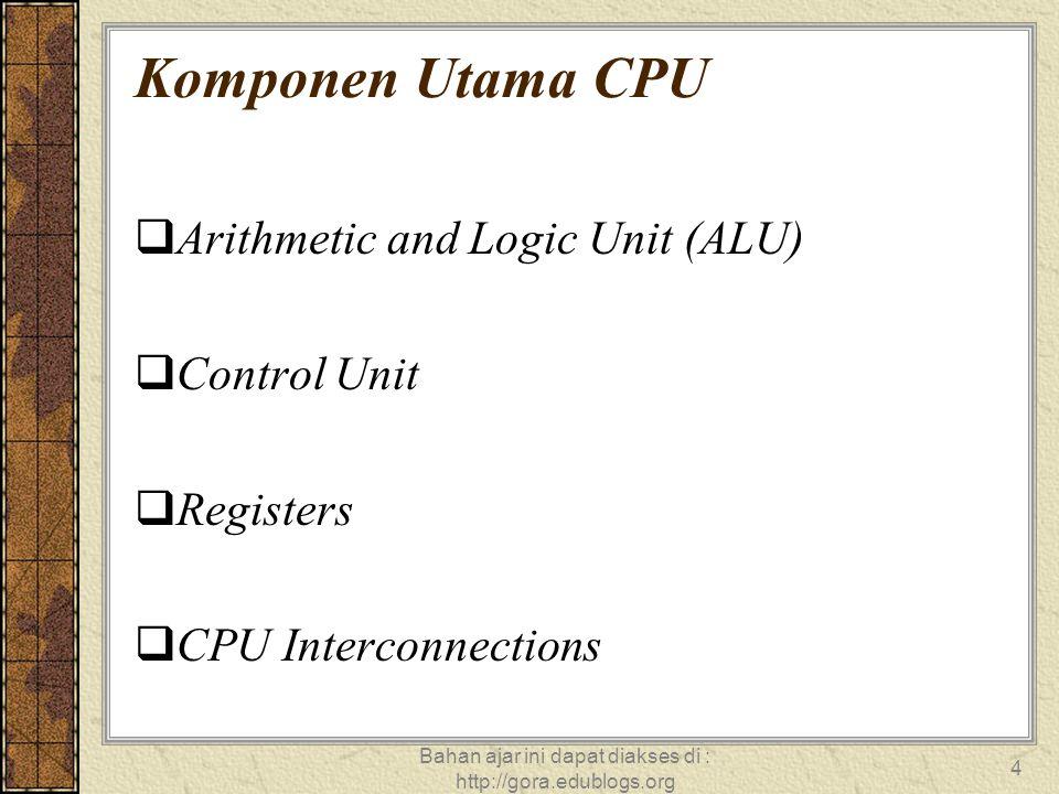 Bahan ajar ini dapat diakses di : http://gora.edublogs.org 4 Komponen Utama CPU  Arithmetic and Logic Unit (ALU)  Control Unit  Registers  CPU Int