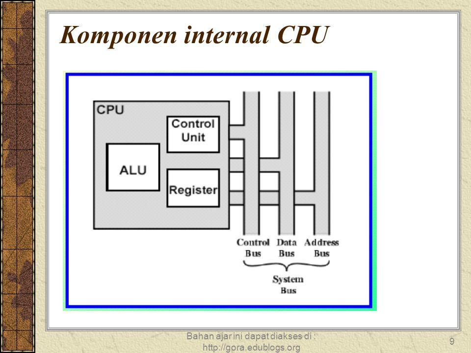 Bahan ajar ini dapat diakses di : http://gora.edublogs.org 9 Komponen internal CPU
