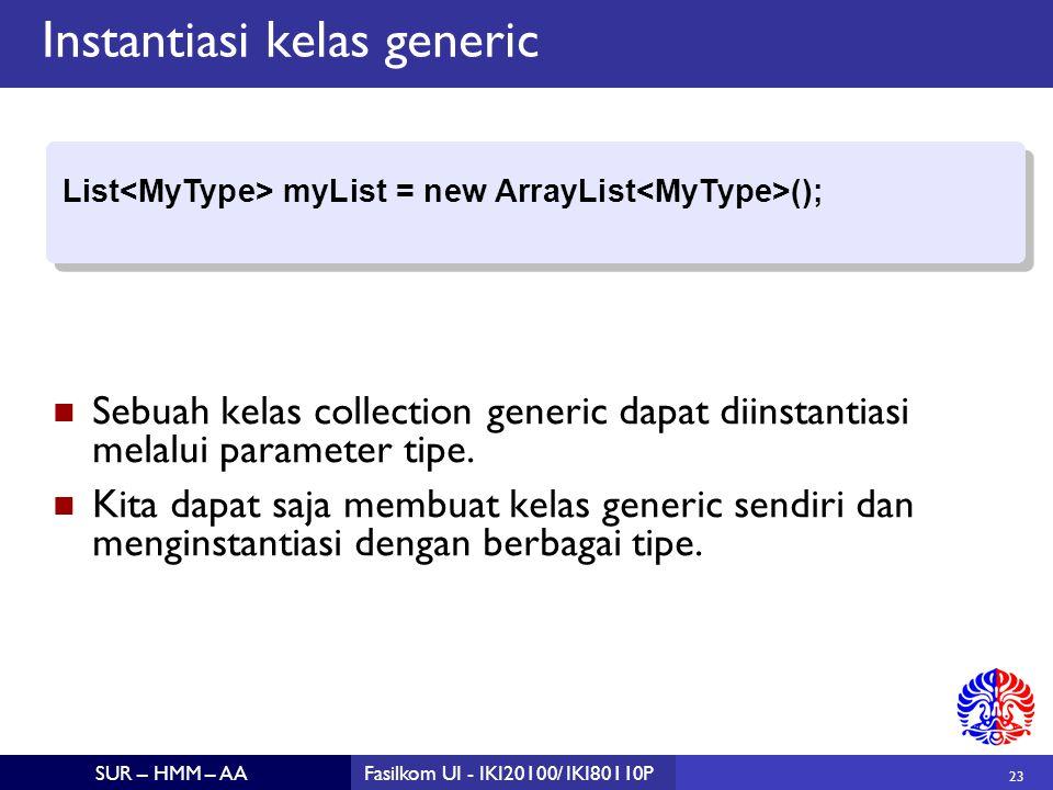 23 SUR – HMM – AAFasilkom UI - IKI20100/ IKI80110P Instantiasi kelas generic Sebuah kelas collection generic dapat diinstantiasi melalui parameter tipe.