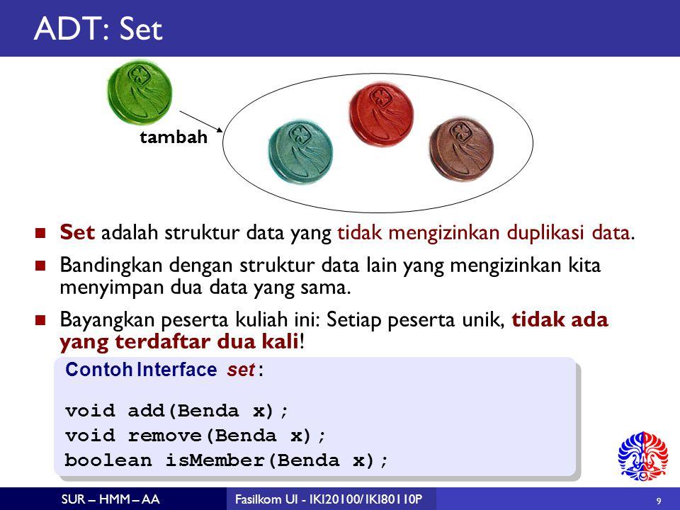 10 SUR – HMM – AAFasilkom UI - IKI20100/ IKI80110P ADT: Map Map adalah struktur data yang berisi sekumpulan pasangan nama (keys) dan nilai (values) dari nama tersebut.