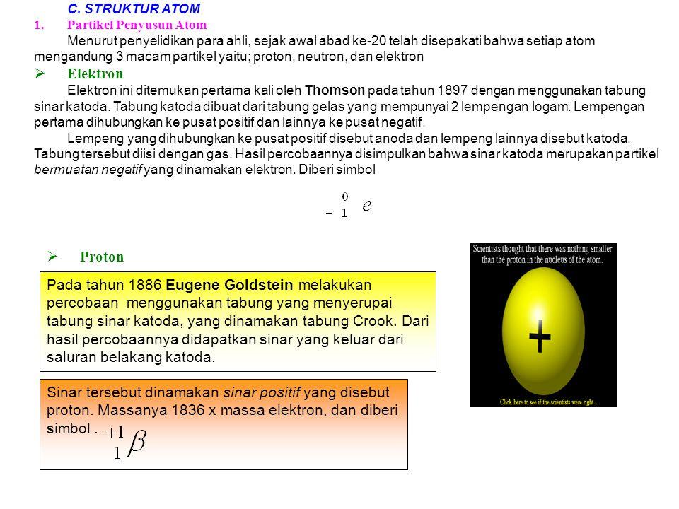 Sinar tersebut dinamakan sinar positif yang disebut proton. Massanya 1836 x massa elektron, dan diberi simbol. C. STRUKTUR ATOM 1.Partikel Penyusun At