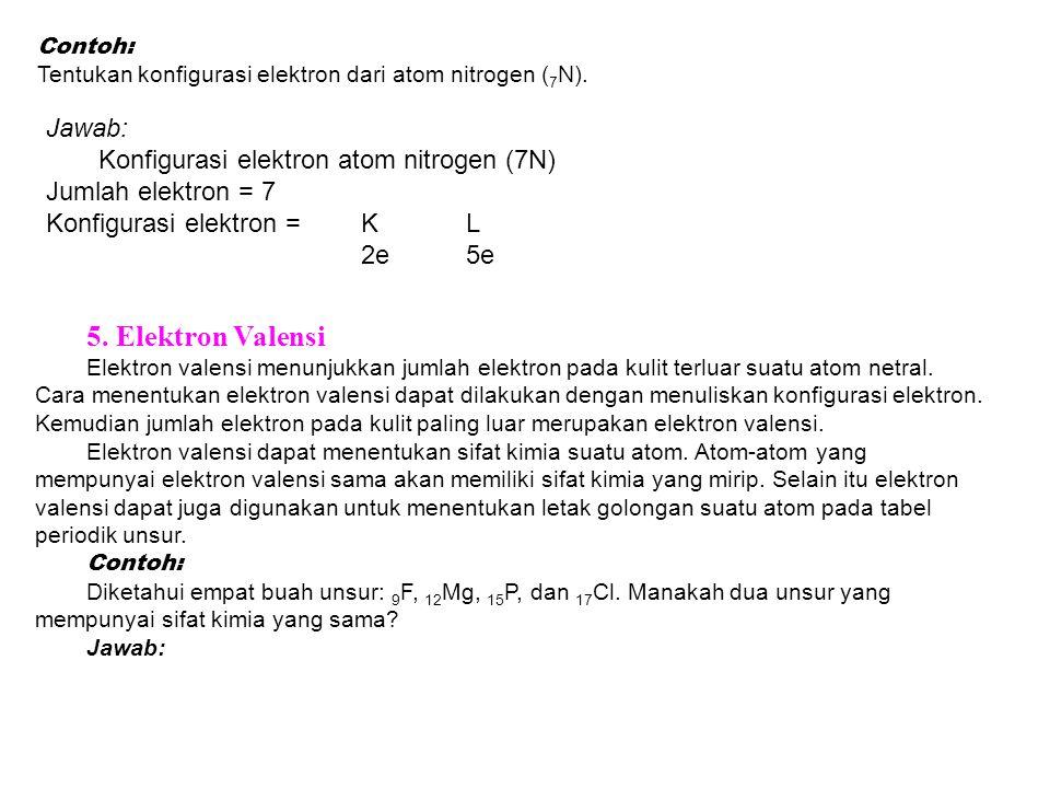 Contoh: Tentukan konfigurasi elektron dari atom nitrogen ( 7 N). Jawab: Konfigurasi elektron atom nitrogen (7N) Jumlah elektron = 7 Konfigurasi elektr
