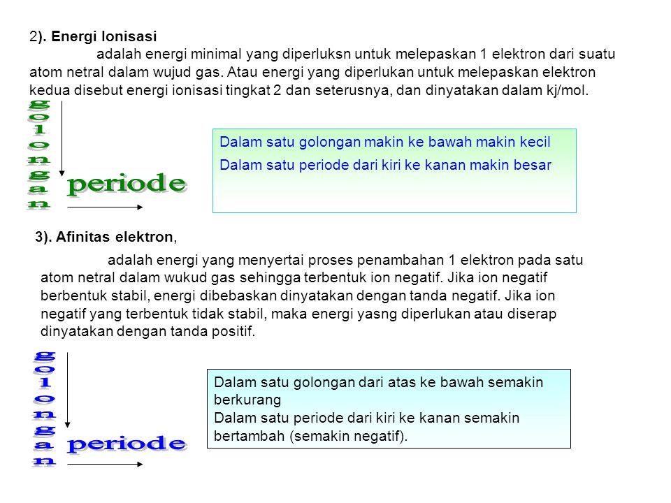 Dalam satu golongan makin ke bawah makin kecil Dalam satu periode dari kiri ke kanan makin besar 2). Energi Ionisasi adalah energi minimal yang diperl