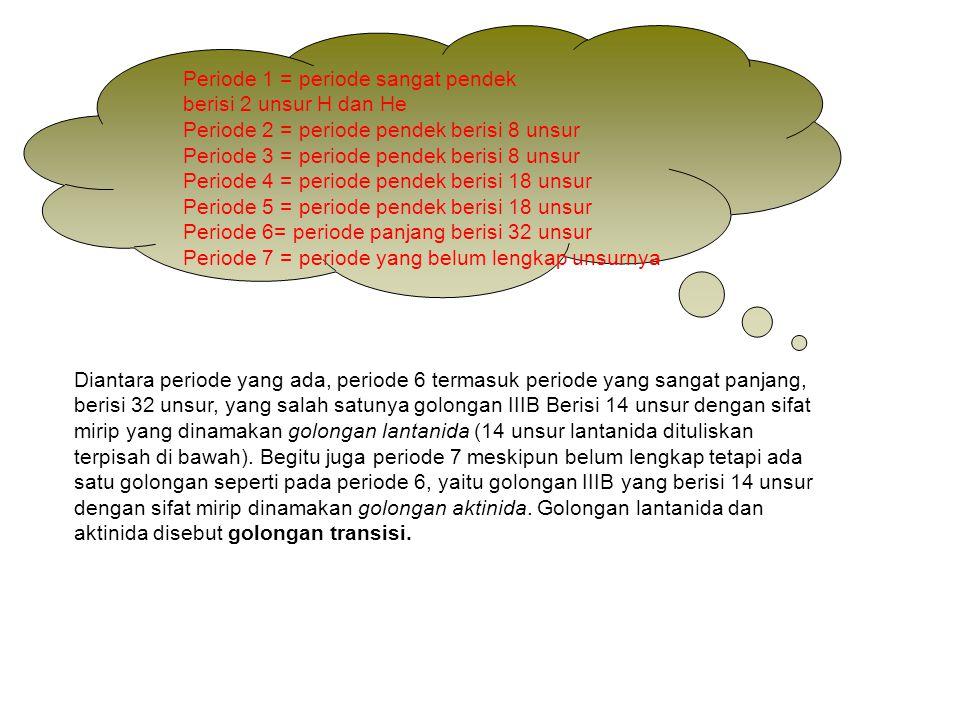 Periode 1 = periode sangat pendek berisi 2 unsur H dan He Periode 2 = periode pendek berisi 8 unsur Periode 3 = periode pendek berisi 8 unsur Periode