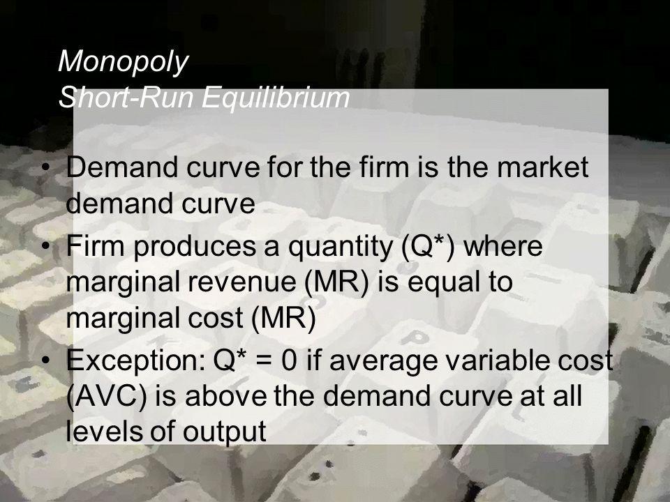 Monopoly Short-Run Equilibrium Demand curve for the firm is the market demand curve Firm produces a quantity (Q*) where marginal revenue (MR) is equal