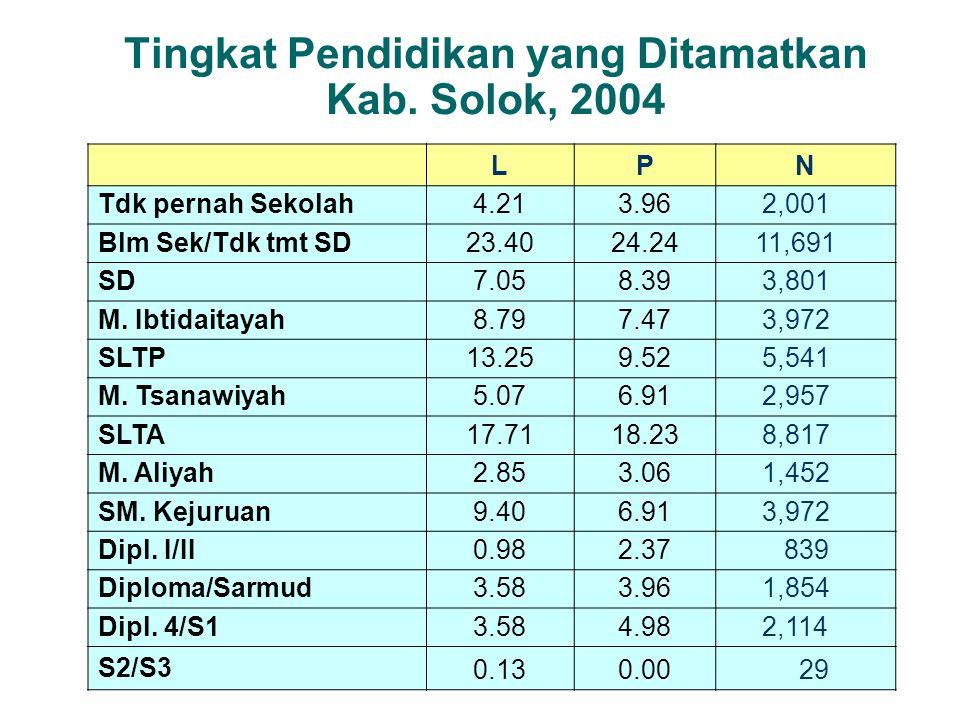 Tingkat Pendidikan yang Ditamatkan Kab. Solok, 2004 LPN Tdk pernah Sekolah 4.213.96 2,001 Blm Sek/Tdk tmt SD 23.4024.24 11,691 SD 7.058.39 3,801 M. Ib