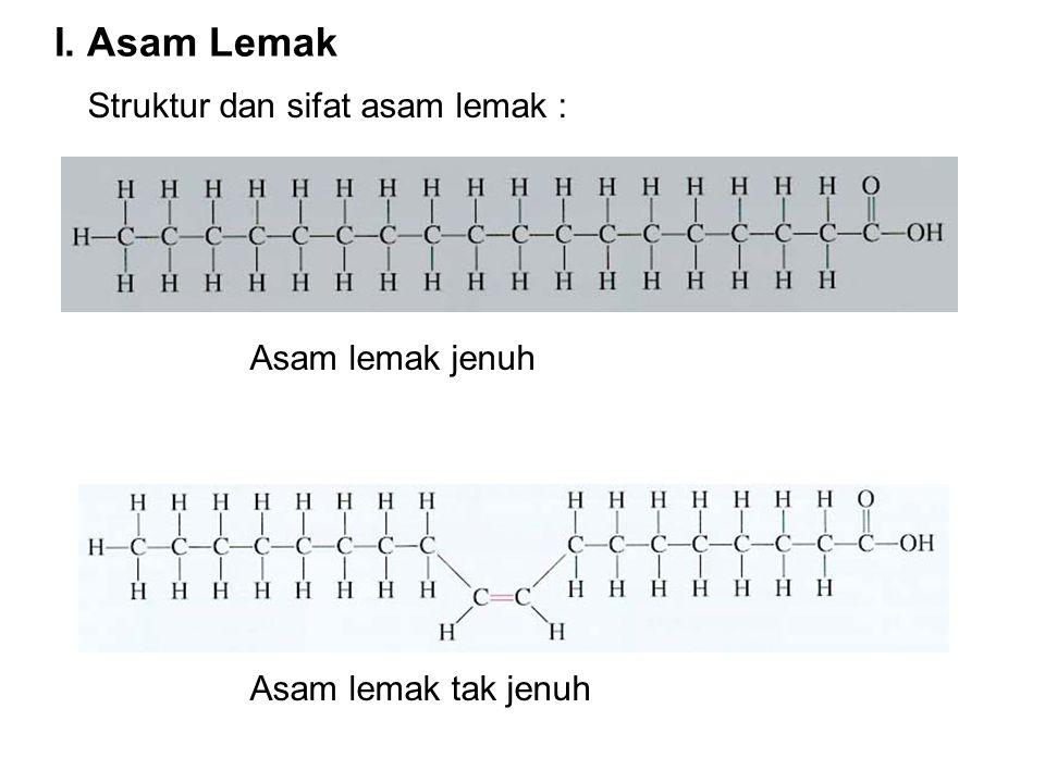 I. Asam Lemak Struktur dan sifat asam lemak : Asam lemak jenuh Asam lemak tak jenuh