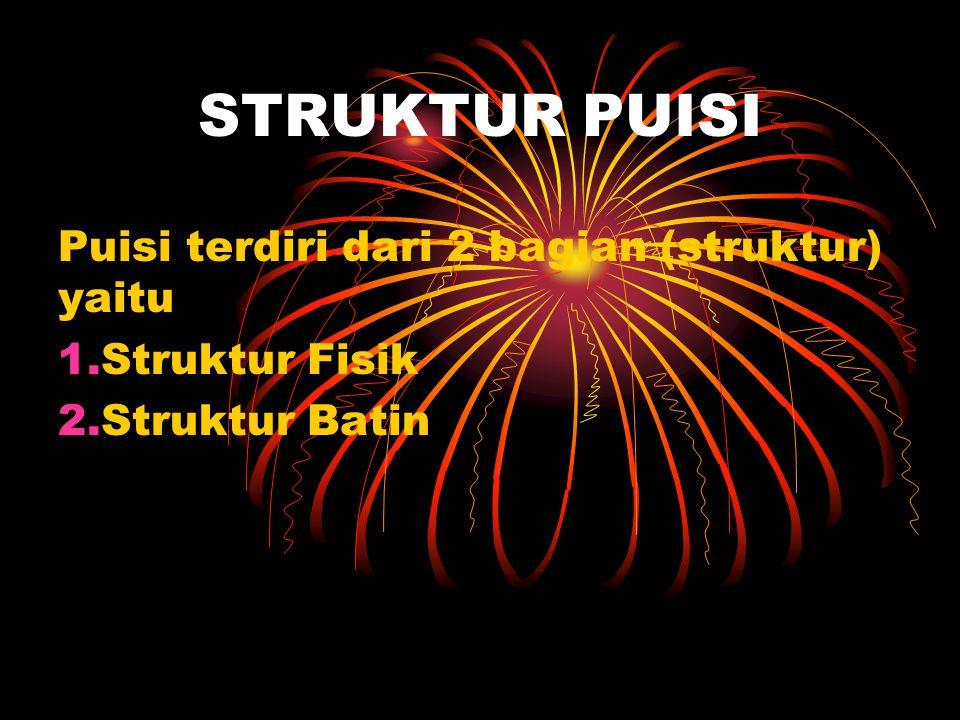 STRUKTUR PUISI Puisi terdiri dari 2 bagian (struktur) yaitu 1.Struktur Fisik 2.Struktur Batin
