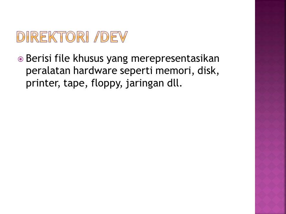  Direktori ini berisi beberapa file-file konfigurasi pengguna dan sistem, seperti file konfigurasi kata sandi ( /etc/passwd ), group ( /etc/group ), mounting device ( /etc/fstab ) dan lain-lain yang ada dikomputer.
