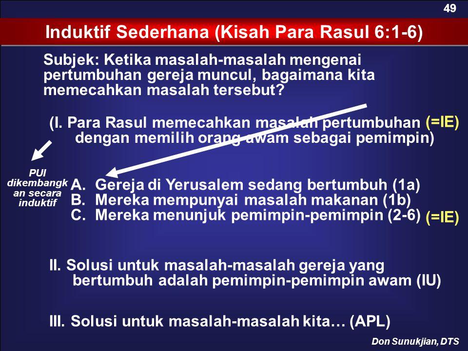 Subjek: Ketika masalah-masalah mengenai pertumbuhan gereja muncul, bagaimana kita memecahkan masalah tersebut? Induktif Sederhana (Kisah Para Rasul 6: