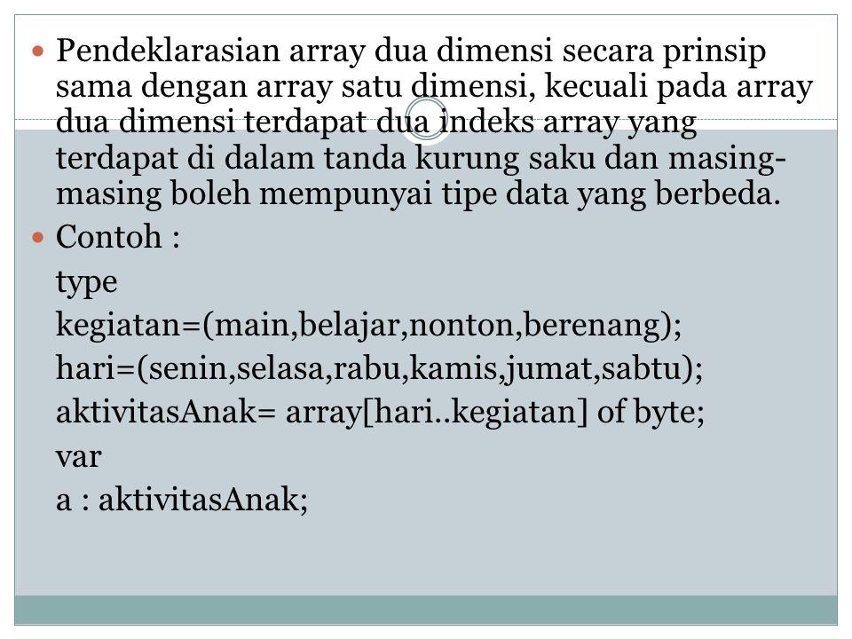 Bentuk Umum : type =array[indeksarray1,indeksarray2] of tipe data; Contoh : Type matrik=array[1..2,1..3] of byte; logika=array[1..5,boolean] of intege