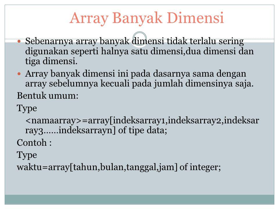Bentuk Umum Type =array[indeksarray1,indeksarray2,indeksarray3] of tipe data ; Contoh : Type Kalender=array[tanggal,bulan,tahun] of byte; Logika=array