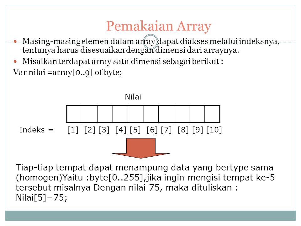 Perhatian : 1. Pada prinsipnya pascal tidak membatasi jumlah banyak dimensi dari array, hanya kita perlu memperhatikan batas maksimal memori yang dapa