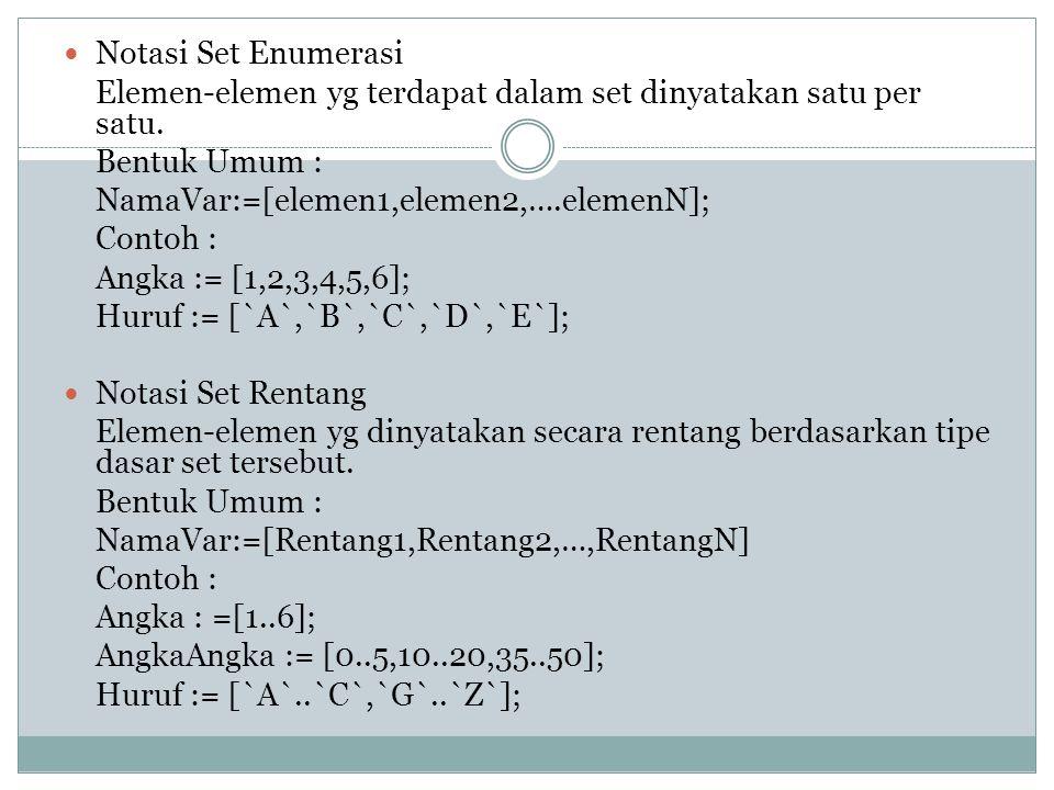 OPERASI SET Deklarasi Set set merupakan tipe data terstruktur yg terdiri dari elemen yg disebut Anggota Set, yg tdk memiliki urutan dan tidak boleh ad