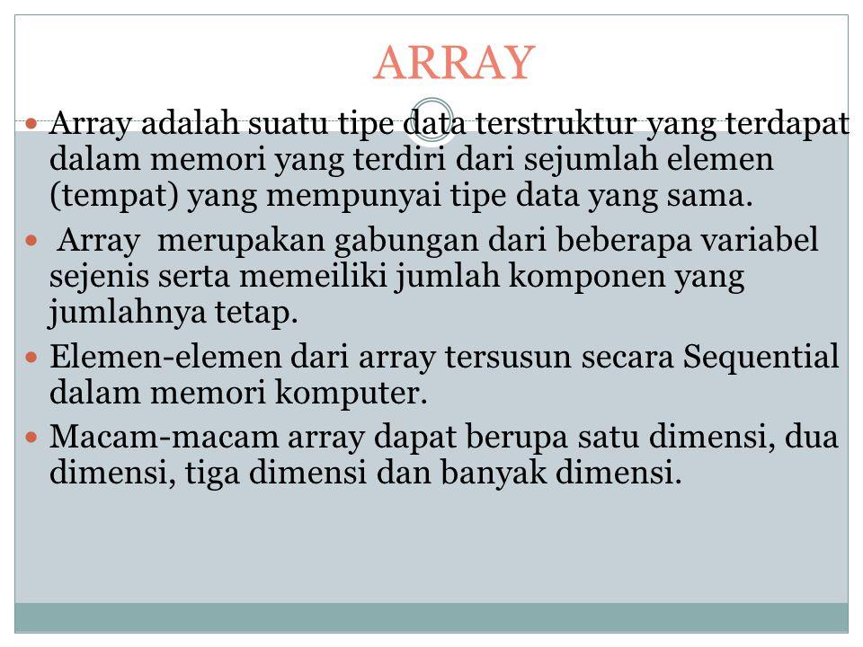 ARRAY DAN OPERASI SET STRUKTUR DATA