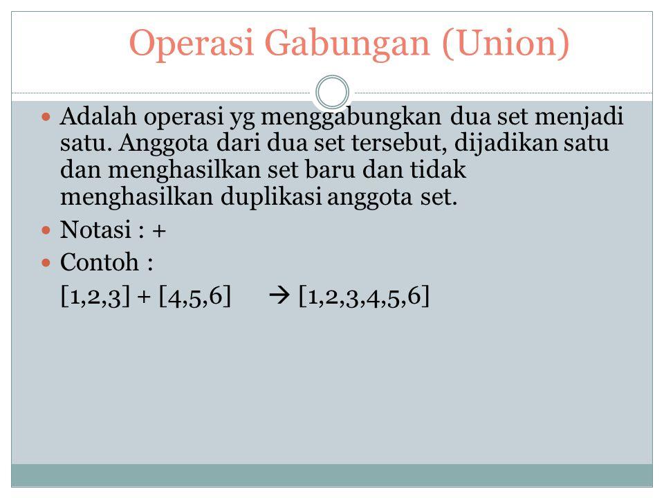 Operasi – Operasi Dalam Set Salah satu operasi dasar dalam set ialah menyatakan apakah suatu nilai tertentu merupakan anggota dari set tersebut. Opera