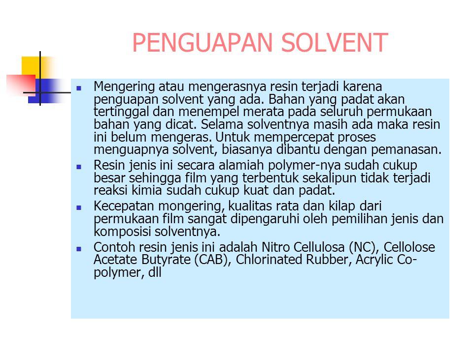 PENGUAPAN SOLVENT Mengering atau mengerasnya resin terjadi karena penguapan solvent yang ada. Bahan yang padat akan tertinggal dan menempel merata pad