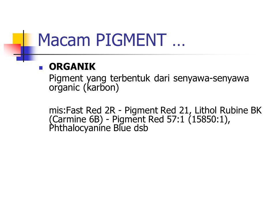 Macam PIGMENT … ORGANIK Pigment yang terbentuk dari senyawa-senyawa organic (karbon) mis:Fast Red 2R - Pigment Red 21, Lithol Rubine BK (Carmine 6B) -