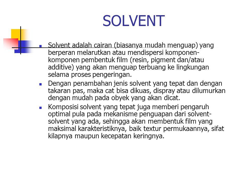 SOLVENT Solvent adalah cairan (biasanya mudah menguap) yang berperan melarutkan atau mendispersi komponen- komponen pembentuk film (resin, pigment dan