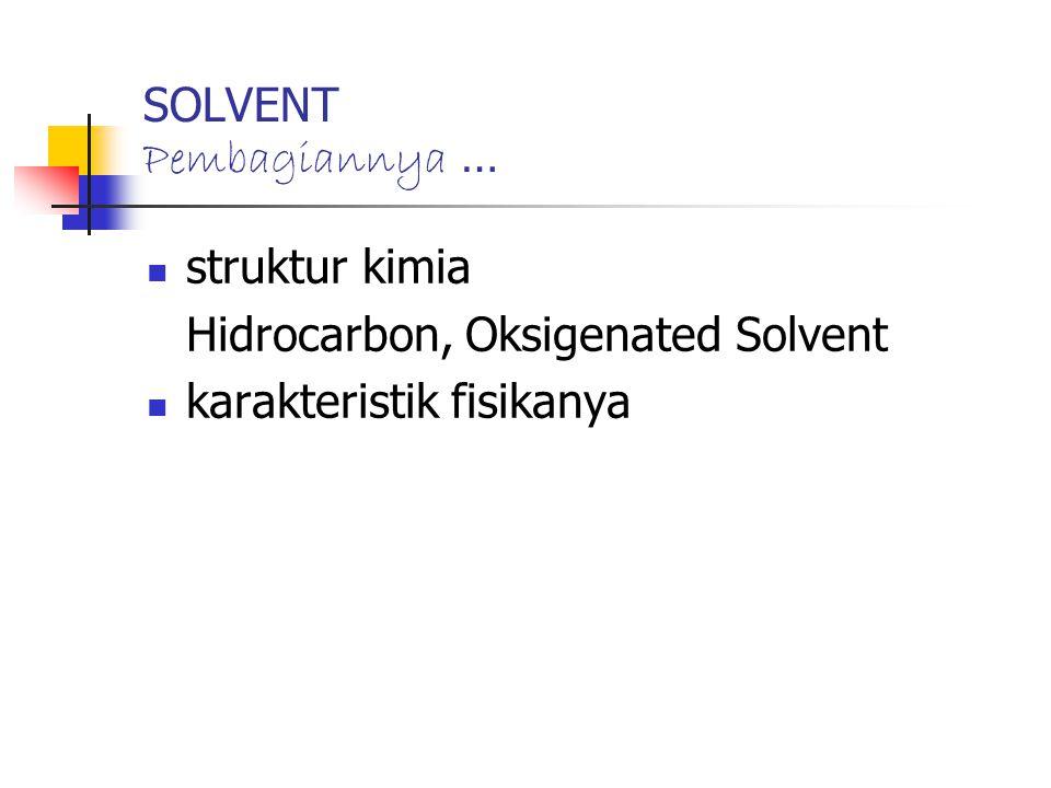 SOLVENT Pembagiannya … struktur kimia Hidrocarbon, Oksigenated Solvent karakteristik fisikanya