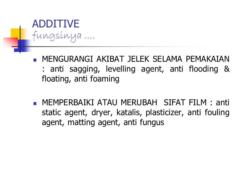 MENGURANGI AKIBAT JELEK SELAMA PEMAKAIAN : anti sagging, levelling agent, anti flooding & floating, anti foaming MEMPERBAIKI ATAU MERUBAH SIFAT FILM :