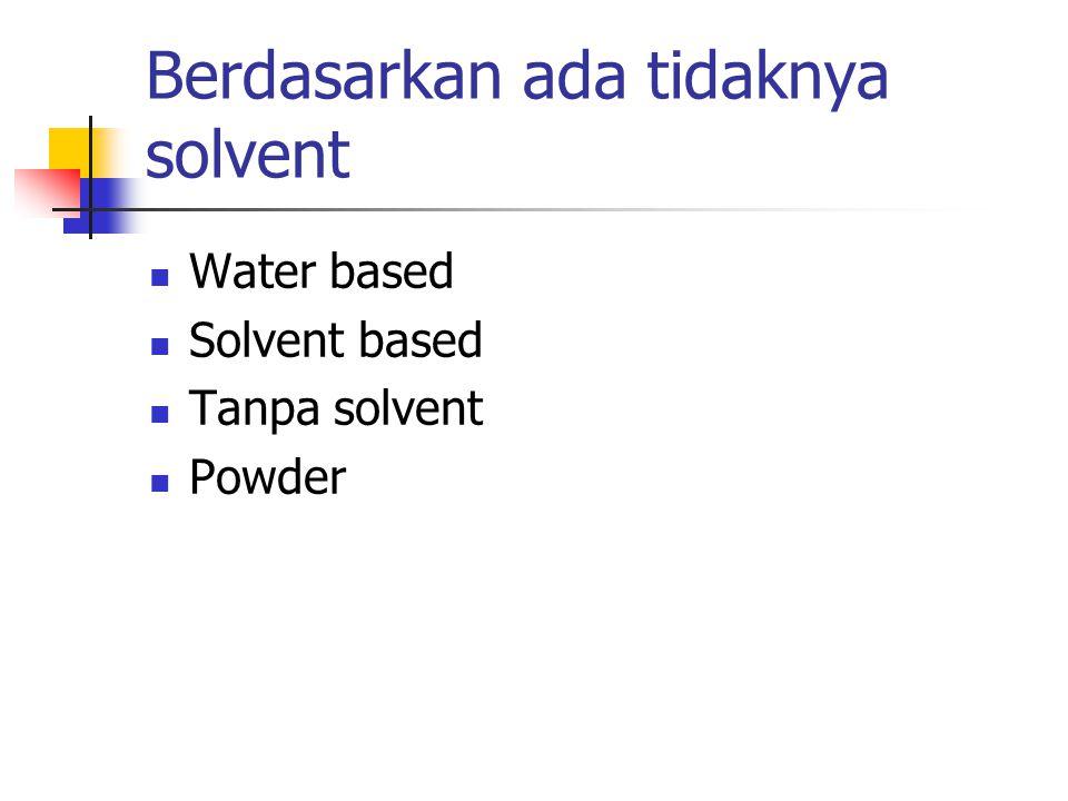 Berdasarkan ada tidaknya solvent Water based Solvent based Tanpa solvent Powder