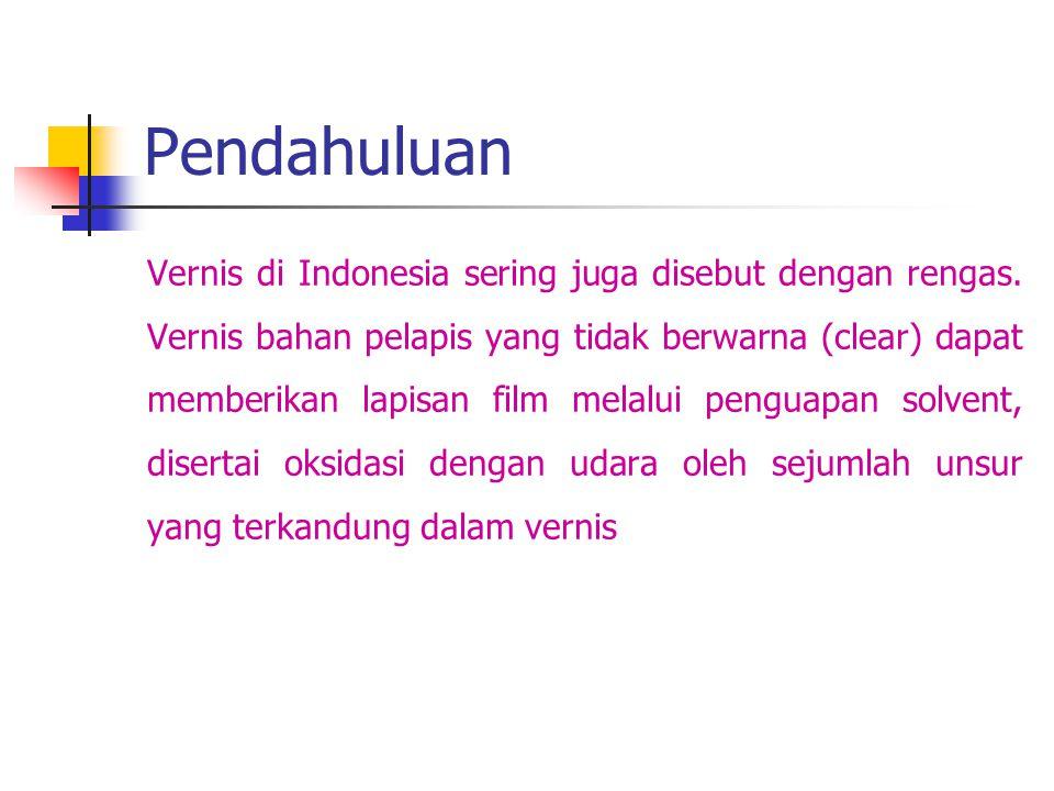 Pendahuluan Vernis di Indonesia sering juga disebut dengan rengas. Vernis bahan pelapis yang tidak berwarna (clear) dapat memberikan lapisan film mela